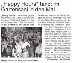 Gartensaal Veranstaltung, HAPPY HOURS Freizeitclub, Dance College Hannover